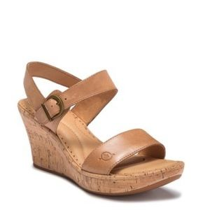 Born Boulder Leather Cork Wedge Tan Size 10M